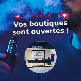 Nous restons ouverts et entièrement à votre disposition ! Ouvertures & Horaires : https://www.altersmoke.com/fr/contenu/boutiques-ouvertes-covid-19 Merci de respecter les consignes sanitaires en vigueur pour votre sécurité ainsi que celle de nos équipes